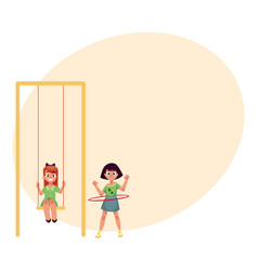 two girls playing at playground swinging and vector image