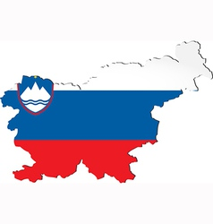 Map of slovenia with national flag vector