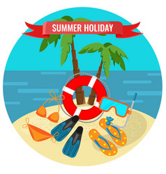 Summer holidays poster with tropical island and vector