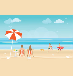 Happy family enjoying on beach during vacations vector