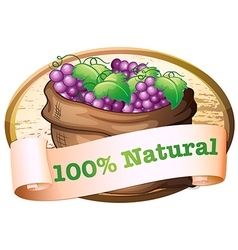 A sack of fresh grapes with a natural label vector