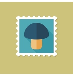 Mushroom flat stamp with long shadow vector