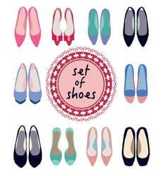 Set of different models of women shoes vector
