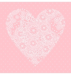 Floral heart valentines day card vector