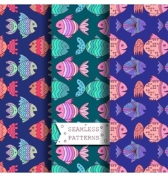 Seamless pattern with sea fish vector