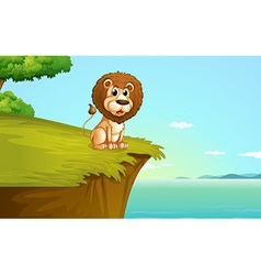 A lion sitting at the cliff vector