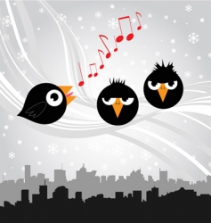 Birds singing vector