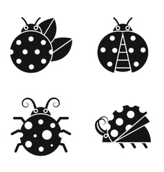 Black silhouette ladybugs on white background vector image