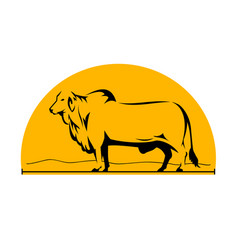 Brahman bull mountains side half circle vector