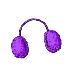 Bright purple fluffy fur ear muffs vector image
