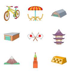 city landscape icons set cartoon style vector image
