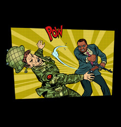 Civil beats invader military soldier vector