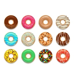 Donuts icons set cartoon style vector image vector image