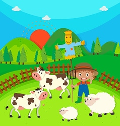 Farmer and farm animals on the farm vector