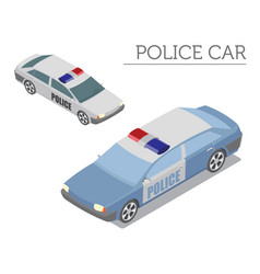 Flat 3d isometric police car isolated on white vector