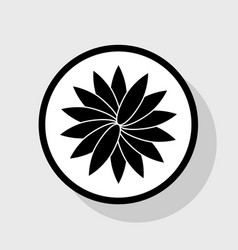 Flower sign flat black icon in white vector