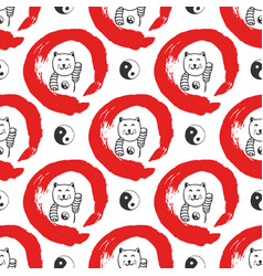 Hand drawn seamless pattern with japan fortune vector
