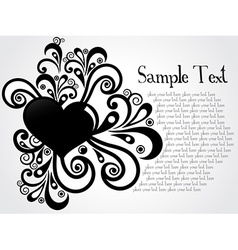 Heart with floral and sample text vector