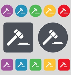 judge or auction hammer icon sign A set of 12 vector image