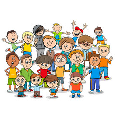 kid or teen cartoon boys characters group vector image vector image