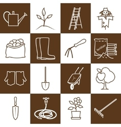 Line brown icons gardening equipment vector