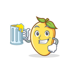 Mango character cartoon mascot with juice vector
