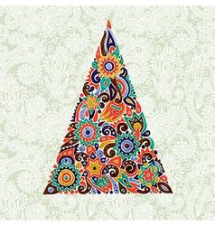 marker drawing christmas tree vector image