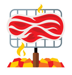 Meat on a barbecue grill flat style vector