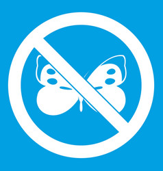 No butterfly sign icon white vector