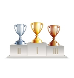 Podium winners with trophy cups vector image vector image