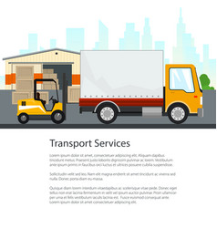 Poster warehouse and transportation services vector