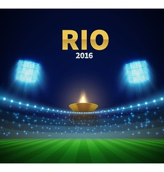 Rio games stadium with torch eps 10 vector