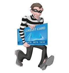 Robber man stole credit card stealing money vector