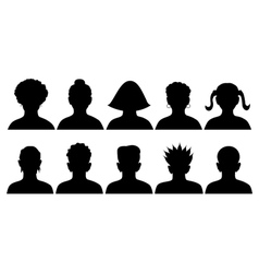set of silhouettes of heads vector image