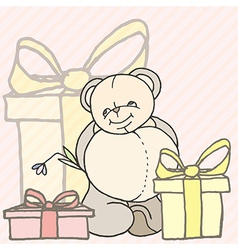 Teddy bear hand drawn design card vector