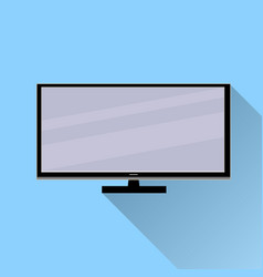 tv icon with long shadow flat design on blue vector image