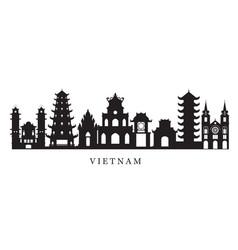 vietnam landmarks skyline in black and white vector image