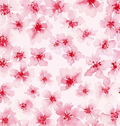 Watercolor background of pink flowers vector