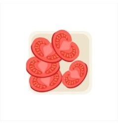 Set of fresh tomato ingredient cut and prepared vector