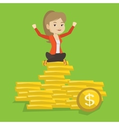 Happy business woman sitting on golden coins vector