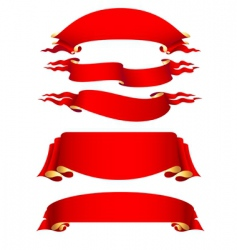 Set of 5 red ribbon vector