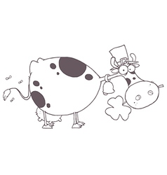 Cartoon cow with clover vector