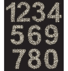 Sparkling number set made of shining stars  from vector