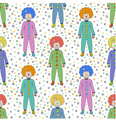 Colorful clowns seamless pattern background kids vector