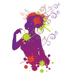 Female silhouette with swirls vector