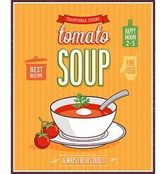 Vintage tomato soup poster vector