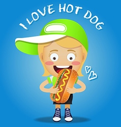 Happy woman carrying big hot dog vector