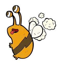 Comic cartoon funny bee vector