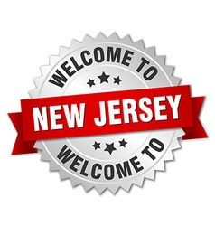 New jersey 3d silver badge with red ribbon vector