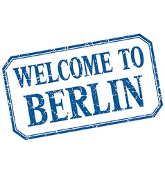 Berlin - welcome blue vintage isolated label vector